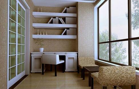 将书柜设置在阳台一边,另一边摆上一张藤椅.